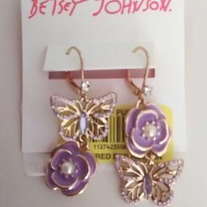 BetseyJohnsonNewFlower/Butterfly Mismatch Earrings